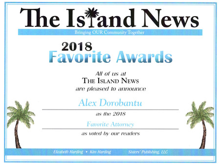 Alex Dorobantu named 2018 Favorite Attorney by The Island News