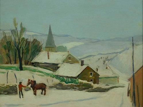 Petit hameau sous la neige – Paysage ardennais