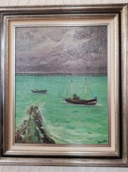 Bateau en mer et l'estacade