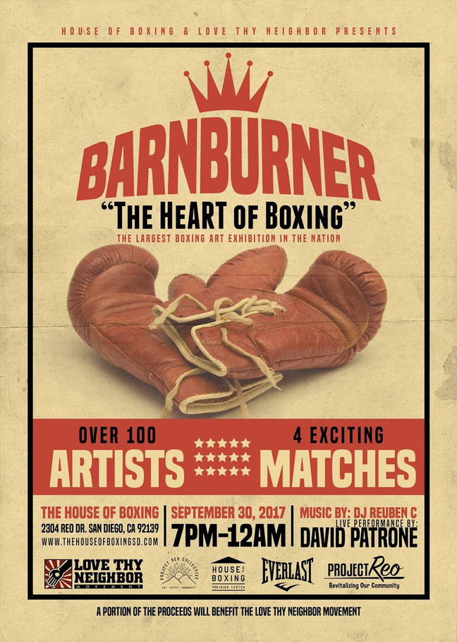 "Sake will have some art on display and for sale @ Barnburner ""The HeART of Boxing"" Sept 30"