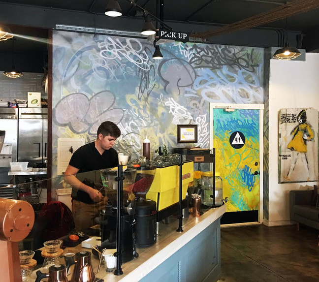 Ya Like coffee & cool vibes stop by Public Square in La Mesa, Ca and see Sake's latest mural