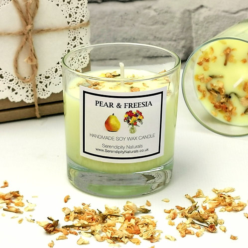 PEAR & FREESIA Scented Soy Candle in a 240ml Glass