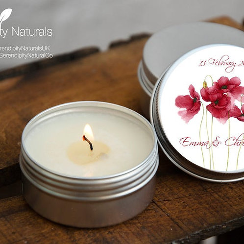 SET of 10 Personalised Wedding favour candles in a 15ml or 50ml tin