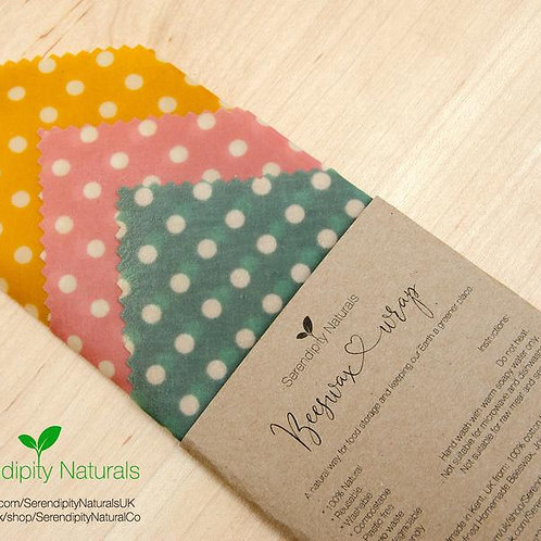 Beeswax Wrap 100% Natural SET OF 3, assorted sizes (yellow, pink and green polka
