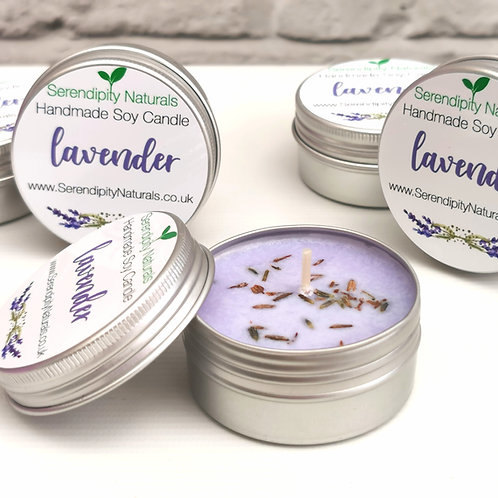 LAVENDER Aromatherapy Hand Poured Soy tin candle, 50ml
