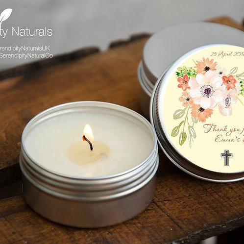 SET of 10 Personalised Baptism favour candles in a 15ml or 50ml tin