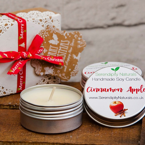 Cinnamon Apple scented tin candle, 50ml, Christmas Gift Box, Wrapped in Ribbon a