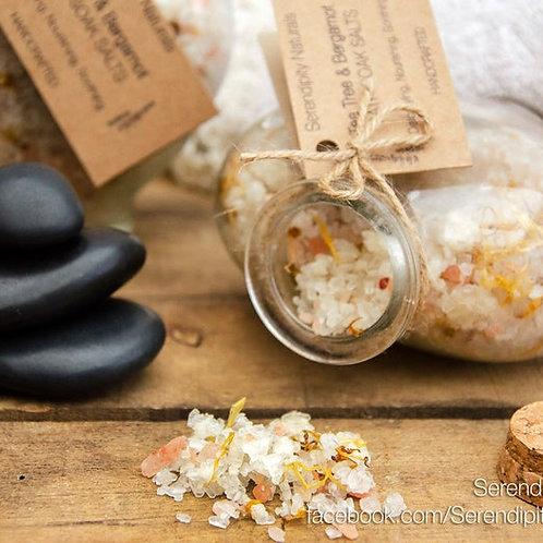 LUXURIOUS Tea Tree & Bergamot - Bath Soak Salts with Essential Oils, Botanicals