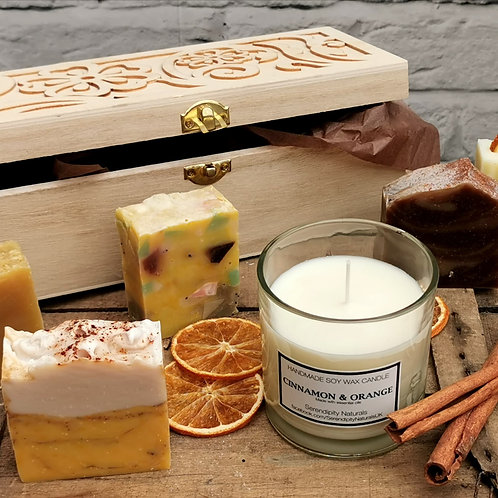Personalised Luxury Autumn 5 Natural Soaps and Candle Gift Set in Wooden