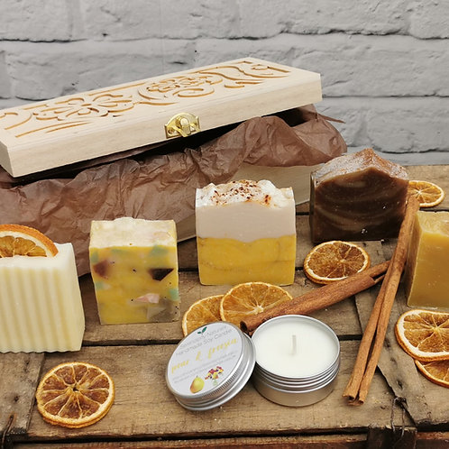 Personalised Luxury Autumn 5 Natural Soaps and Candle Gift Set in Wooden Box