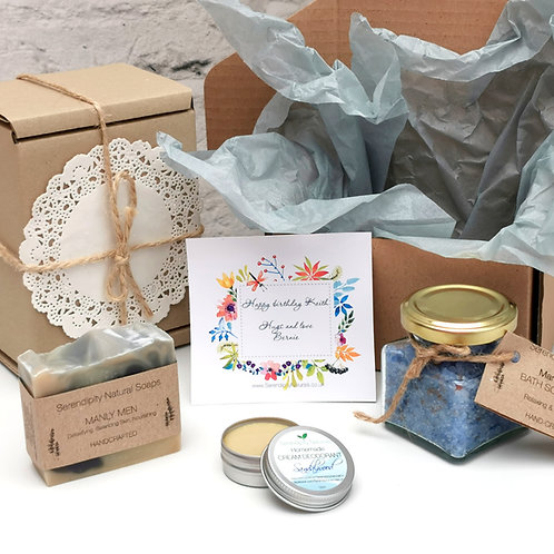 Man's Gift Box FOR HIM, Manly Man, set, all natural includes soap, bath salt wit