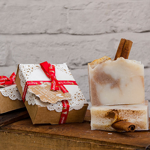 Cinnamon All Natural Soap, wrapped in Christmas Gift Box, Christmas Gift