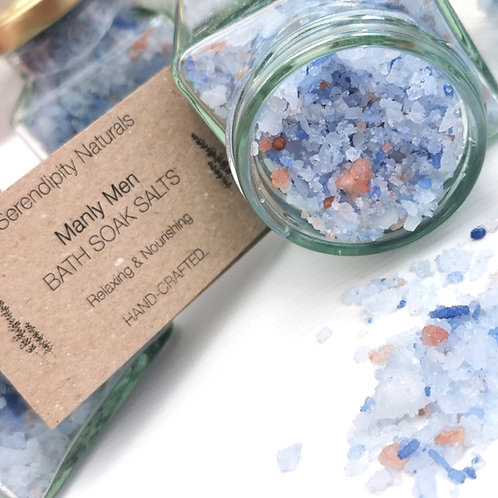 MANLY MAN, For Him Bath Soak Salts mixed with nourishing oils, butters, clays an