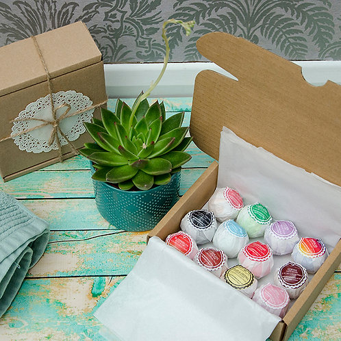 12 Luxury Mini Bath Bombs Collection in a Gift Box, Vegan
