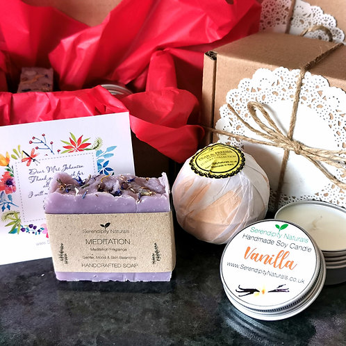 Personalised Teacher's Gift Box Bath Set RANDOM SCENTS