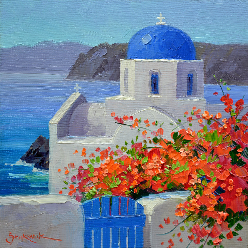 Painting Santorini and sipping some Greek Wine