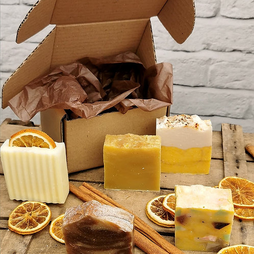 Autumn Gift Set of 5 Natural Soaps in Brown Box