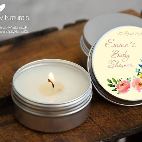 SET of 10 Personalised Baby Shower favour candles in a 15ml or 50ml tin