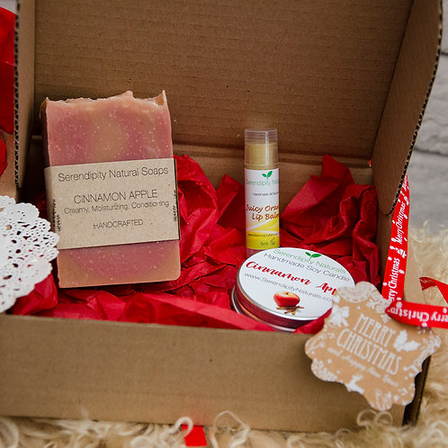 Christmas Gift Box with Christmas scented Soap, Candle and Lip Balm