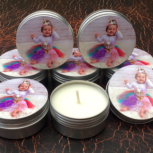 SET of 10 Personalised custom PHOTO favour candles in a 15ml or 50ml tin