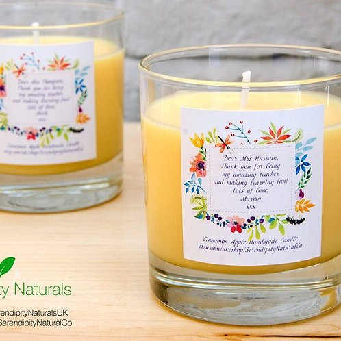 Personalised Soy Candle in a glass 220ml, Wedding decoration, favour, thank you