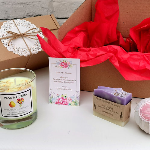 FLORAL GIFT BOX, Includes Floral Scented Candle, Soap and Bath Bomb