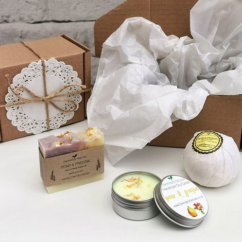 PEAR & FREESIA Gift Box, Includes Handmade Soap, Tin Candle and Bath Bomb