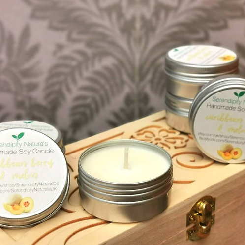 CARIBBEAN BERRY & MELON scented soy tin candle, 50ml