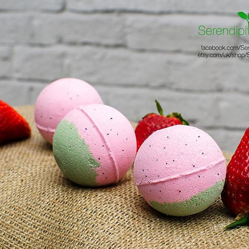 Luxury Collection - Strawberry Bath Bomb, enriched with Organic oils and butters