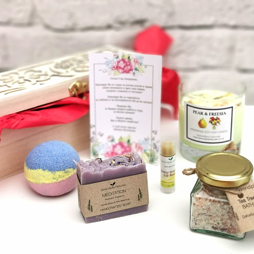 LUXURY FOR HER Teacher's Day Gift Box - Wooden Box Includes Handmade Soap