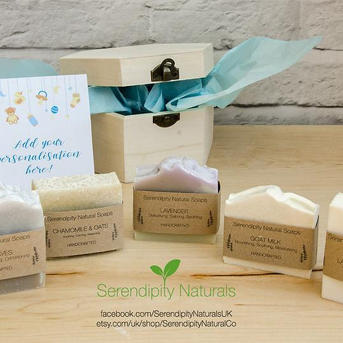 Personalised BABY BOY newborn set, gift box, natural soaps, skincare