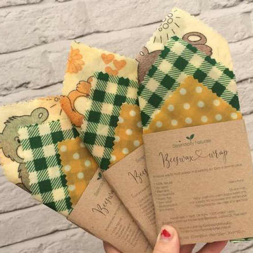 Beeswax Wrap SET of 3, 100% Natural, assorted sizes, reusable, eco friendly