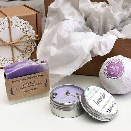 LAVENDER Gift Box, Includes Handmade Soap, Tin Candle and Bath Bom
