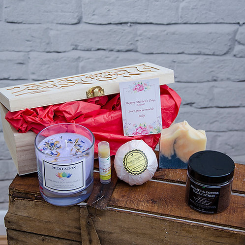 LUXURY FOR HER Mother's Day Gift Box - Wooden Box Includes Handmade Soaps, Candl