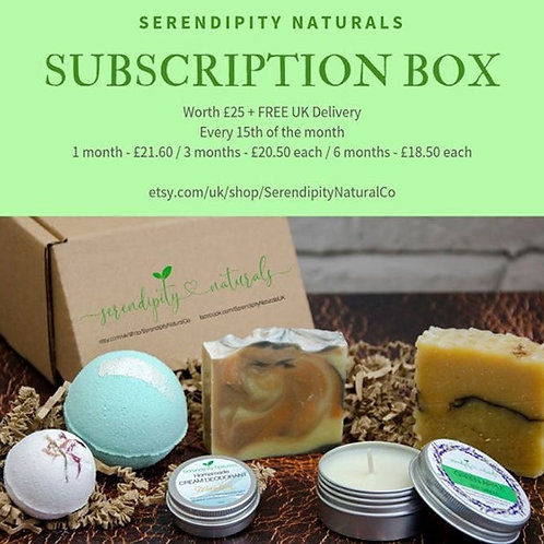 Subscripnton box, natural soaps, luxury bath bombs, deo, candles, bath products