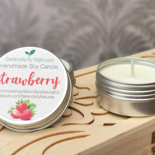 STRAWBERRY scented tin candle, 50ml