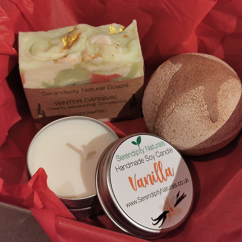 Christmas Gift Box with Christmas scented Soap, Candle and Bath Bomb