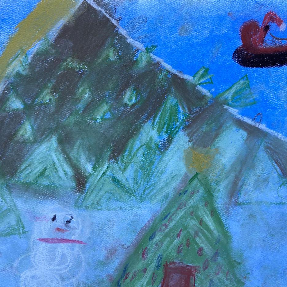 Winter Mountain Scene | Pastel | Eva, Age 8