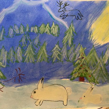 Winter Mountain Scene | Pastel | Scarlett, Age 7