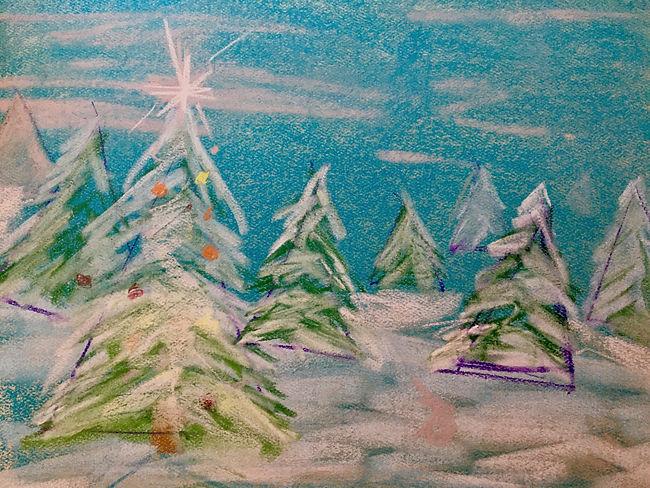 Winter Mountain Scene:Pastel:Val's Demo.