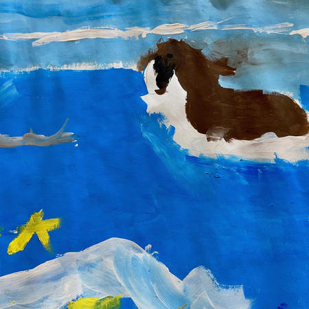 Horse in Ocean | Acrylic | Eva, Age 8