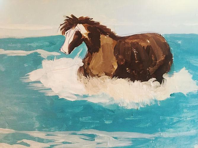 Horse in Ocean:Acrylic:Val's Demo.jpg