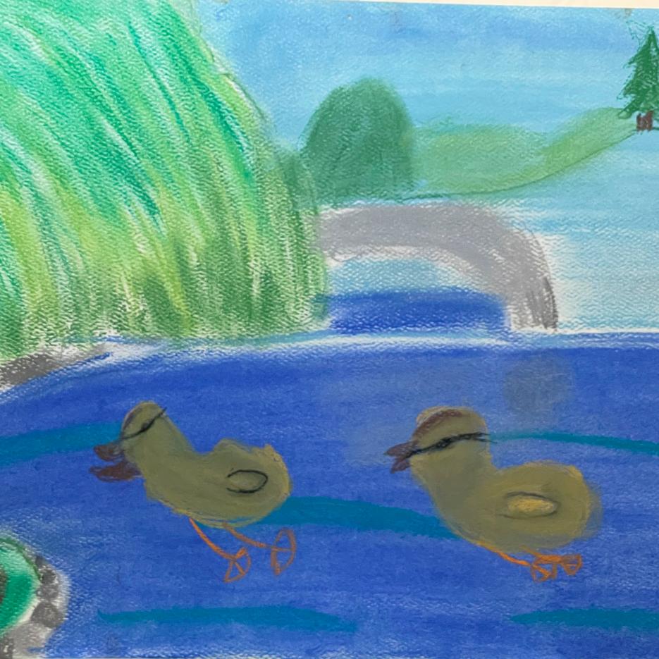 Ducks on a Pond | Pastel | Scarlett, Age 7