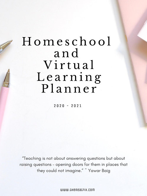 Home School and Virtual Learning Planner - Blush