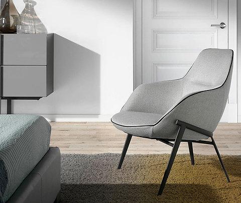 Sillón confidente tapizado tela gris modelo 5065