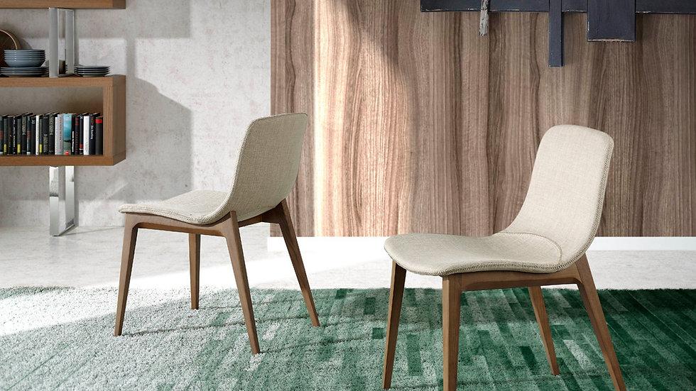 Silla comedor tapizada tela marrón 4049