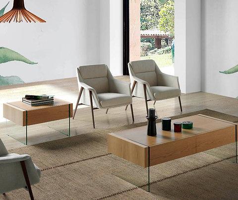 Sillón tapizado tela beige modelo 5010