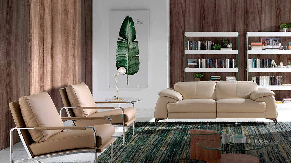 Sillón tapizado polipiel crema modelo 5046