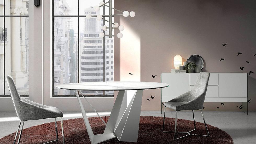 Mesa comedor redonda mármol blanco modelo 1043