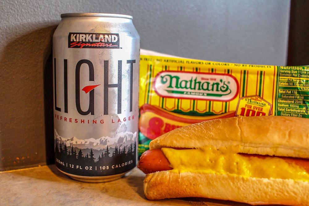 Kirkland Light beer + Hotdog